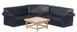 Dollhouse Miniature 4pc Black Corner Sofa Set - $47.02