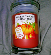 Yankee Candle AUTUMN TRIO Jar 10 oz. NEW Spiced Pumpkin Harvest Apple Pu... - $16.82