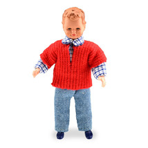 Dollhouse Miniature Caco Doll Little Boy w/Red Sweater - $27.72