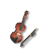 Dollhouse Miniature Reutter Porcelain Wood Violin w/Bow - $24.26