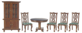 Dollhouse Miniature 6pc Walnut Dining Set /Corner Cabinet SALE - $29.99