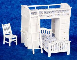 Dollhouse Miniature White Bunkbed Set with Desk - $60.88