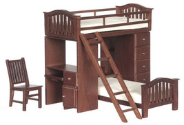 Dollhouse Miniature Walnut Bunkbed Set with Desk - $60.88