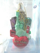 New York City Glass Ornament NOBLE GEMS City Scapes  Big Apple Statue of... - $23.71