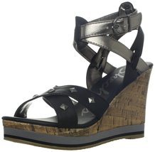 Skechers Cali Women's Bomb Shell Pop Art Wedge Sandal,Black,10 M US - $38.56