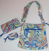 Vera Bradley Hipster Bag Marina Paisley Purse Wallet Case Set Crossbody ... - $34.60