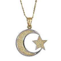 10K Yellow Gold Muslim Crescent Moon Pendant w. Figaro Chain (5.6 gr) - €156,54 EUR