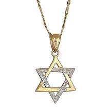 10K Yellow Gold Magen David Jewish Star of David Pendant w. Figaro Chain... - €105,77 EUR