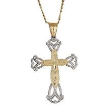 10K Yellow Gold Cross / Crucifix Pendant w. Figaro Chain (3.9 gr) - €110,00 EUR