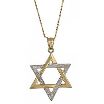 10K Yellow Gold Magen David Jewish Star of David Pendant w. Figaro Chain... - €156,54 EUR