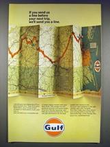 1966 Gulf Oil Ad - Send Us a Line Before Next Trip - $14.99