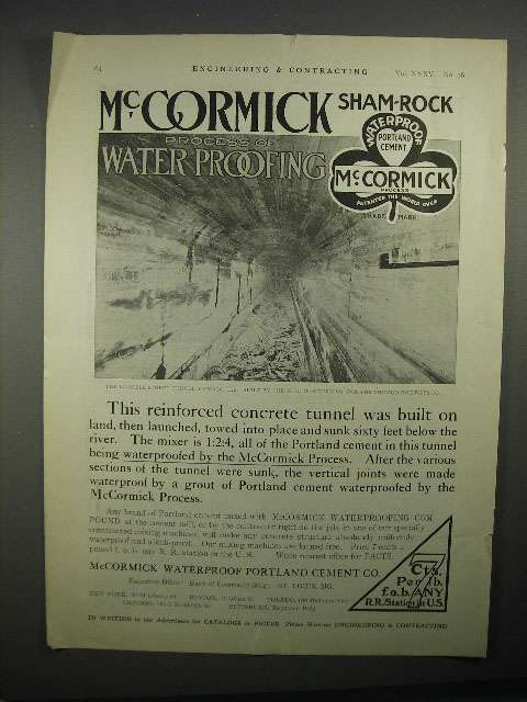 Primary image for 1911 McCormick Sham-Rock Waterproof Portland Cement Ad