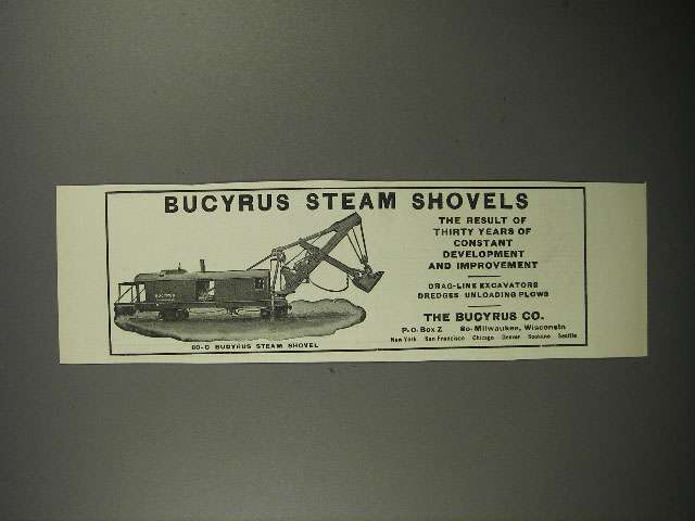1911 Bucyrus 80-C Steam Shovel Ad!