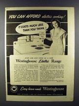 1941 Westinghouse Electric Range Ad - You Can Afford - $14.99
