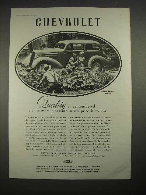 Primary image for 1935 Chevrolet Master De Luxe Coach Car Ad!
