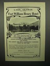 1908 Fort William Henry Hotel Ad - Gateway of Adirondacks - $14.99