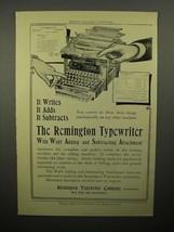 1908 Remington Typewriter Ad - Wahl Adding Attachment - $14.99