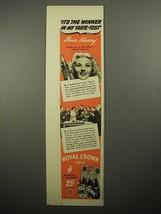 1941 Royal Crown Cola Soda Ad - Ilona Massey - $14.99