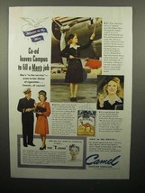 1943 WWII Camel Cigarette Ad - Co-Ed Leaves Campus - $14.99