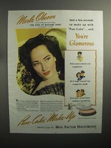 1944 Max Factor Pan-Cake Make-Up Ad, Merle Oberon - $14.99