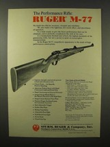1975 Ruger M-77 Rifle Ad - The Performance Rifle - $14.99