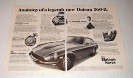 1974 Datsun 260-Z Car Ad - Anatomy of a Legend - $14.99