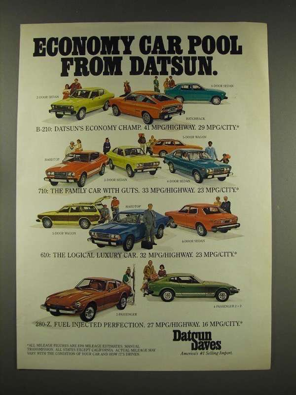 1976 Datsun B 210 710 610 280 Z Car Ad And 50 Similar Items