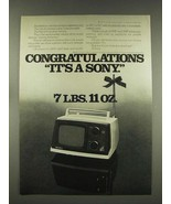 1976 Sony Model TV-520 Portable Television Ad - $14.99