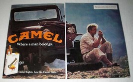 1981 2-page Camel Lights Cigarette Ad - Where Man Belongs - $14.99