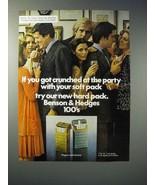 1976 Benson & Hedges 100's Cigarette Ad - Got Crunched - $14.99