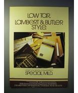 1980 Lambert & Butler Special Mild Cigarette Ad - Low Tar - $14.99