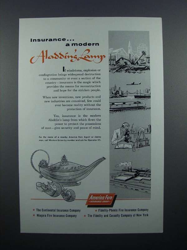 America 1956 Insurance 50 Aladdin's Fore And Ad Similar Items O0Pwkn8