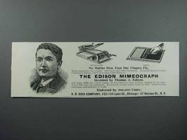 1897 Edison Mimeograph Ad - Automatic / Hand - $14.99