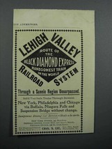 1897 Lehigh Valley Railroad Ad - Handsomest Train in the World - $14.99