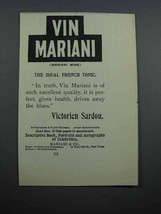 1897 Vin Mariani Tonic Ad - Quote by Victorien Sardou - $14.99