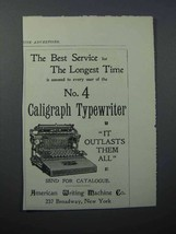 1897 Caligraph No. 4 Typewriter Ad - The Best Service - $14.99