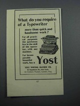 1897 Yost No. 4 Typewriter Ad - Do You Require - $14.99