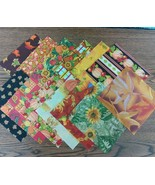 "CLEARANCE Fall Autumn Themed Finishing Fabric 5"" x 5"" 13 pcs total cross... - $4.25"