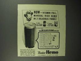 1946 Borden's Hemo Drink Ad - Vitamin-Full Mineral-Rich - $14.99