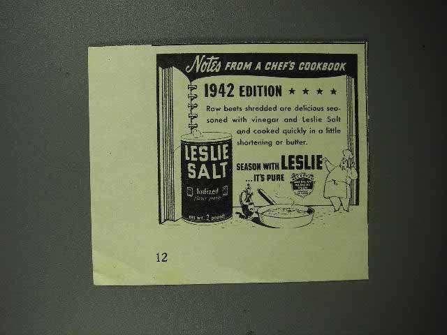 1942 Leslie Salt Ad - Raw Beets with Vinegar