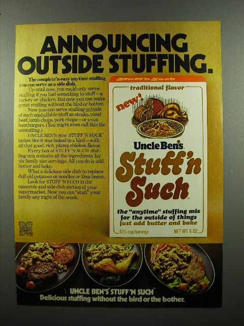 1972 Uncle Ben's Stuff 'n Such Stuffing Ad - Outside
