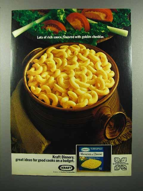 1972 Kraft Macaroni & Cheese Dinner Ad - Rich Sauce - $14.99