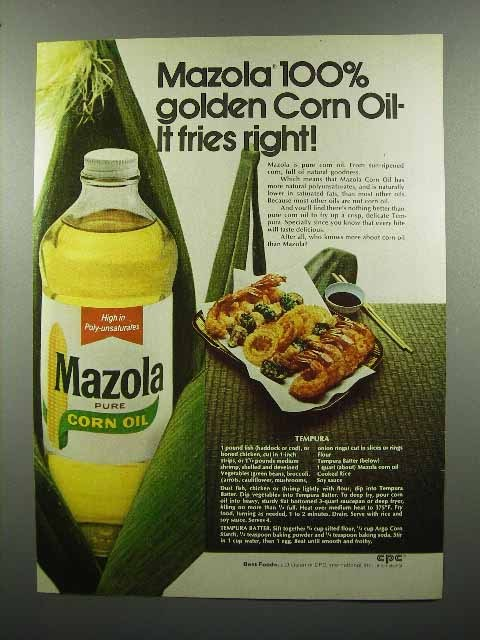 1972 Mazola Corn Oil Ad - It Fries Right!
