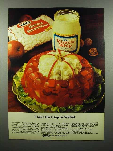 1972 Kraft Marshmallows, Miracle Whip Ad - Top the Waldorf