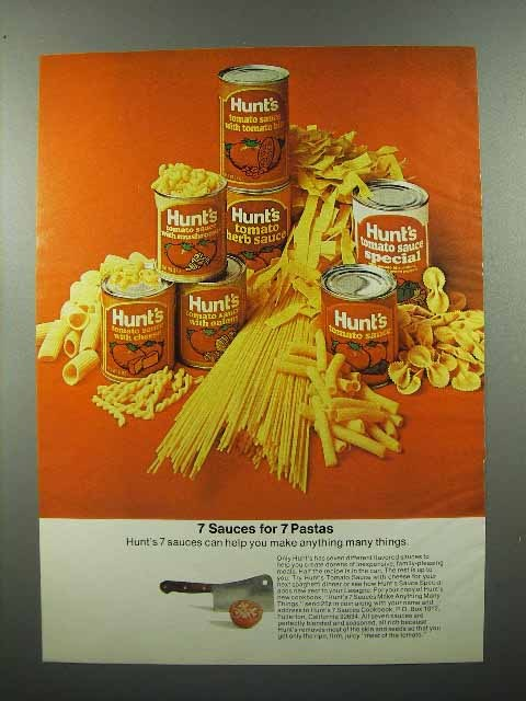 1973 Hunt's Tomato Sauce Ad - 7 Sauces for 7 Pastas