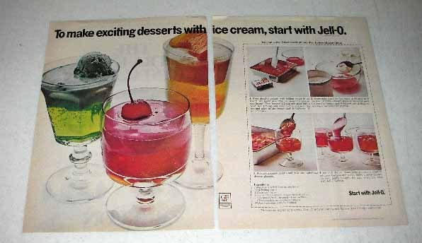 1973 Jell-O Gelatine Ad - Exciting Desserts Ice Cream