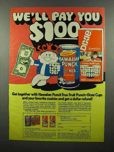 1974 Hawaiian Punch Drink Ad - We'll Pay You