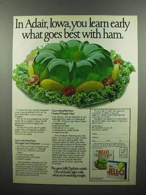 1980 Jell-O Gelatin Salad Ad - What Goes Best With Ham