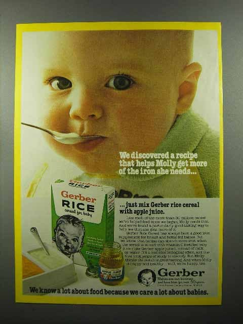 1979 Gerber Rice Cereal, Apple Juice Baby Food Ad