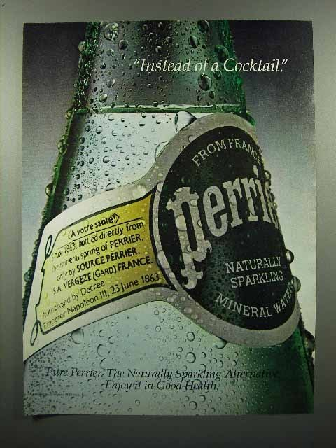 1980 Perrier Mineral Water Ad - Instead of a Cocktail